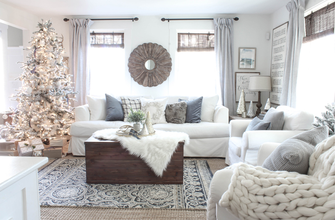 Cozy Christmas white holiday living room decor