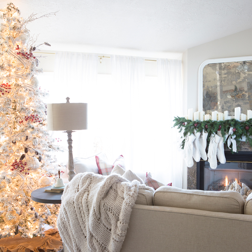 The faux Christmas tree will last a long time and the fresh garland provides a lovely scent.