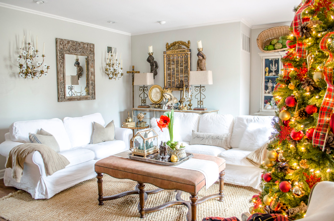 Cindy Blackenburg's family room is decorated for Christmas