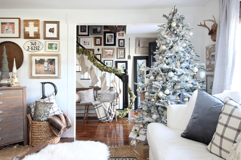 Blue and white Christmas family room