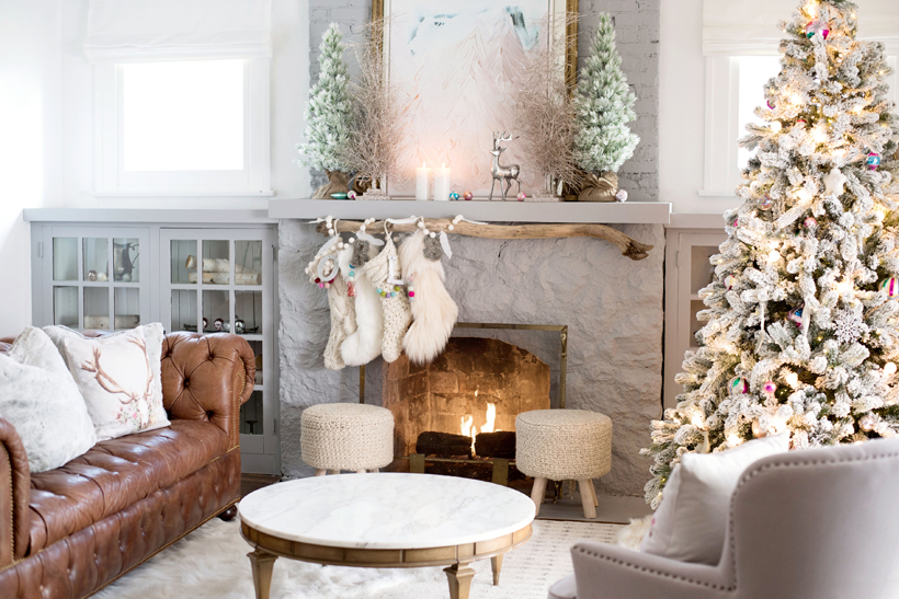 Susan Daggett of Kindred Vintage brings winter whimsey to her living room