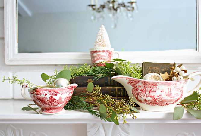 Red transferware lends its cheery hue to holiday vignettes