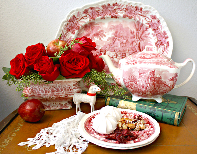 a holiday vignette featuring red transferware
