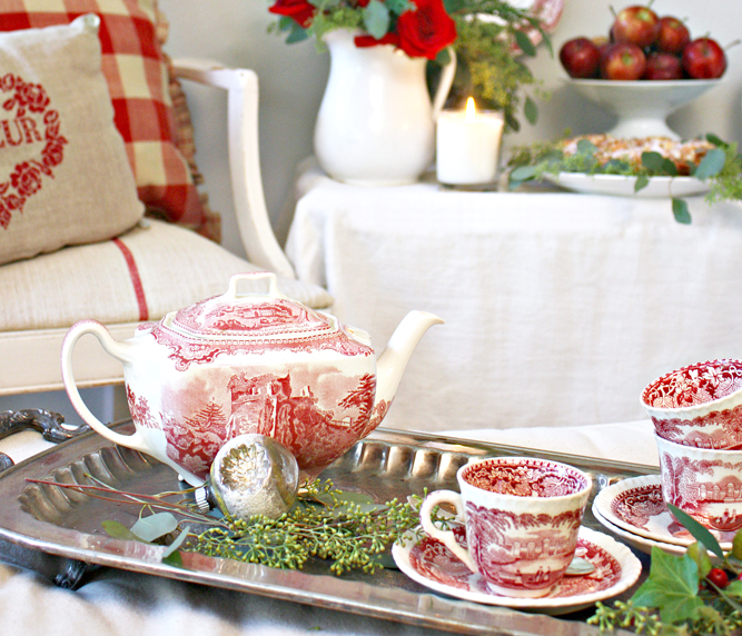 Holiday vignette featuring red transferware