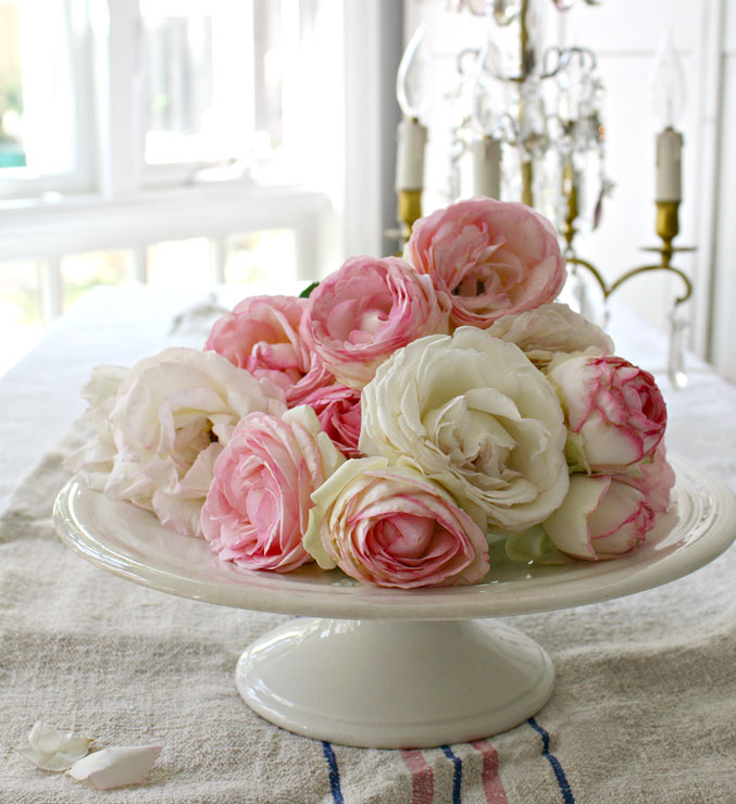An Ironstone cake plate works as a centerpiece, topped with roses.
