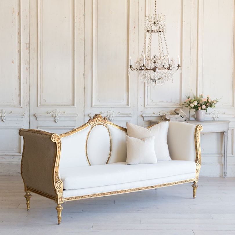 Swedish sofa and living room decor inspiration, French and Gustavian Design Style from Eloquence. #swedish #interiordesign #frenchcountry #gustavian #nordic #decoratingideas #whitedecor #eloquence #furniture