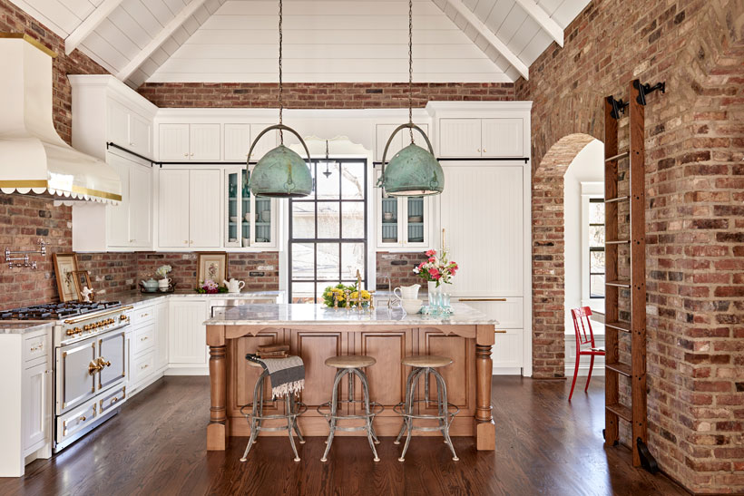 Charming Southern kitchen with brick walls