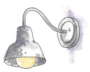Aged Metal Patina Wall Mounted Sconce. Illustrated by Michal Sparks.