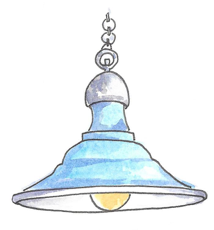 Barn-style porcelain enameled pendant light.