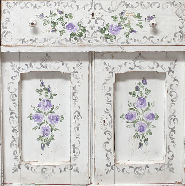 White Shabby Chic cabinet with purple painted folk floral pattern