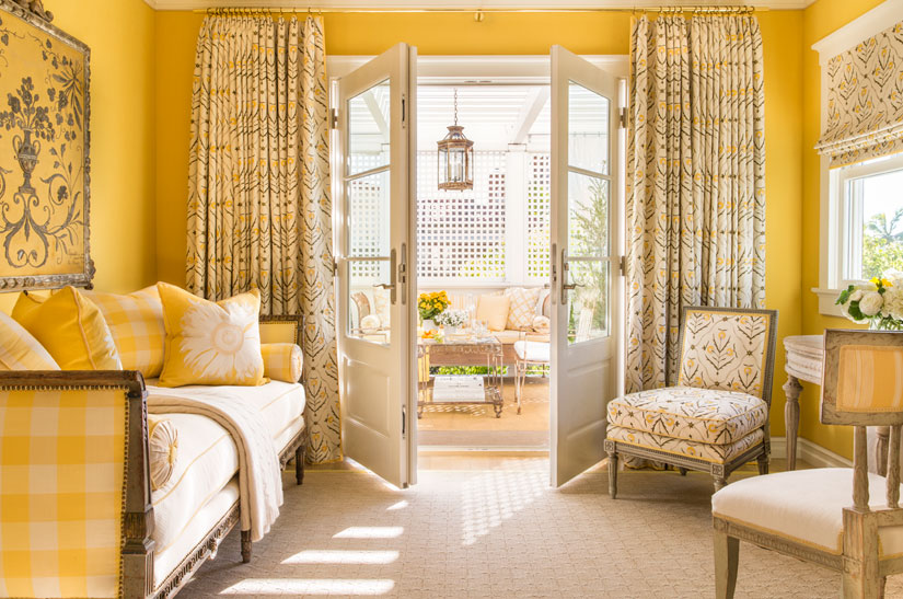 Designer Marshall Watson uses a sunny yellow color scheme to create a light and cheery atmosphere.