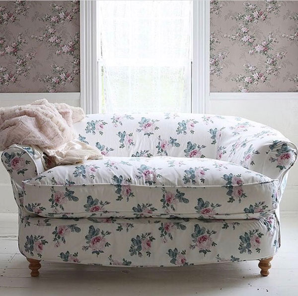 The Bean Loveseat in Rose Majesty Chintz upholstery.