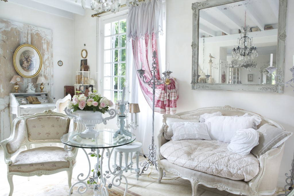 Shabby White French Living Room
