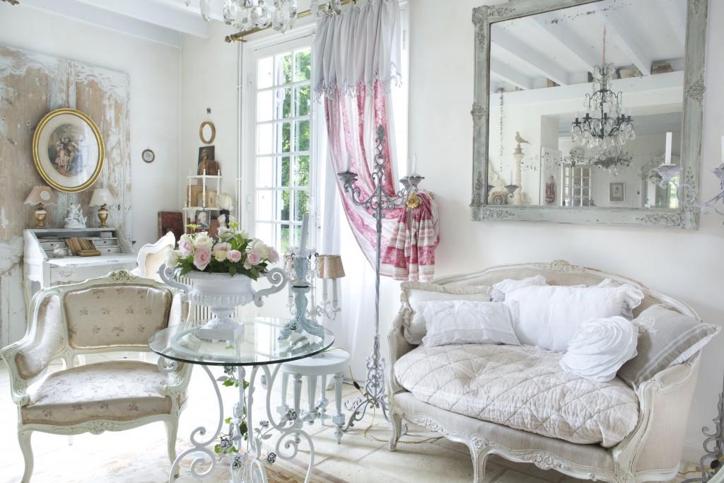 Shabby White French Living Room