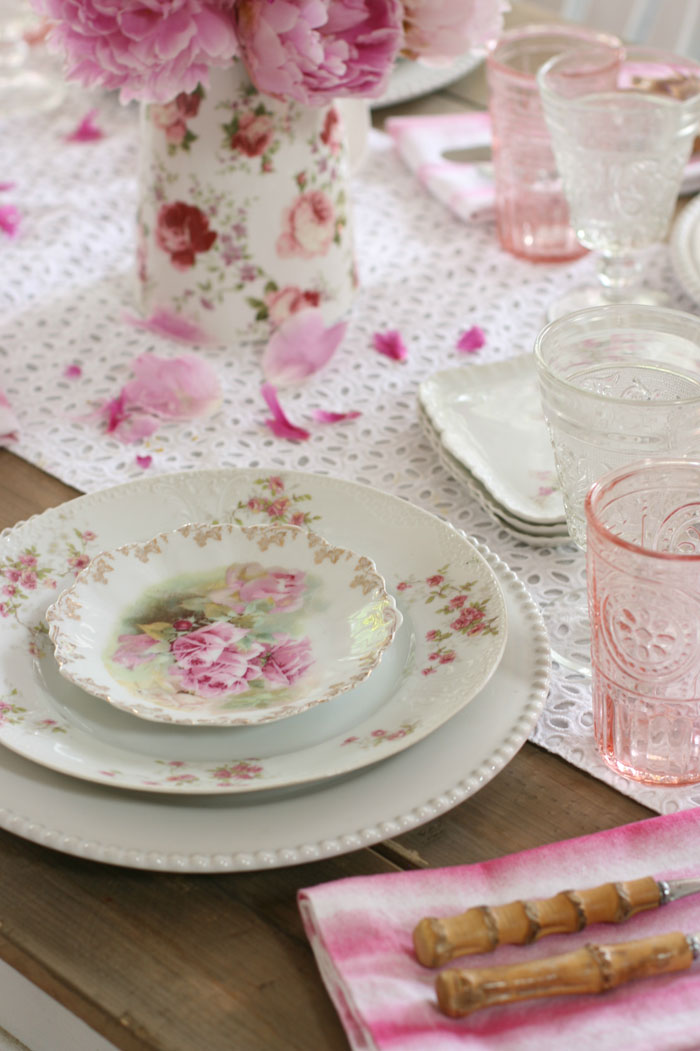 Collect and display rose patterned china with pink accents for romantic charm