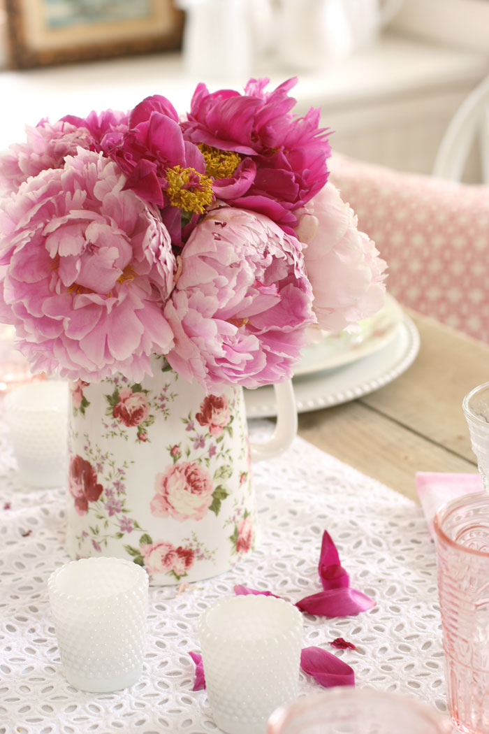 As you collect and display rose china patterns, pink peonies add a modern flair to the vintage inspired tablescape.