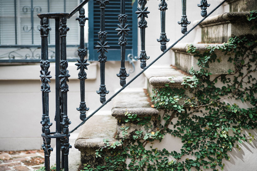 Creeping along handrails and old stairs, greenery lends itself as a viable décor option for those who want to invite Mother Nature up for tea. Photo by Kayla DeVito