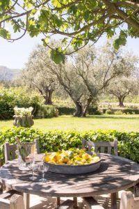 One of several outdoor dining areas, this serene location allows guests to enjoy the fig and olive trees on the surrounding 8.5 acres of land and catch a glimpse of the Luberon mountains while relaxing in the shade.