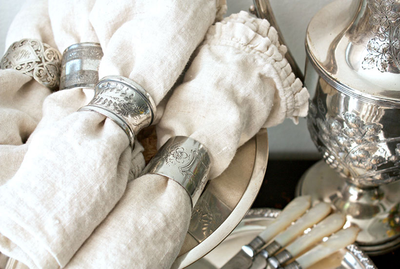 Matched silver sets are beautiful, but many of us collect silverware over the years and collect many different patterns. Embrace the variety by displaying mismatched patterns and enjoy each individual intricate pattern.