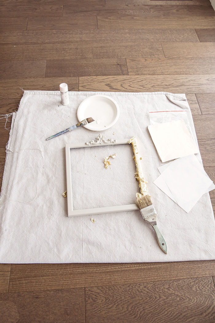 Easily apply the gold leaf sheets with gliding glue and a brush. Vintage French Decor by Jaimie Lundstrom