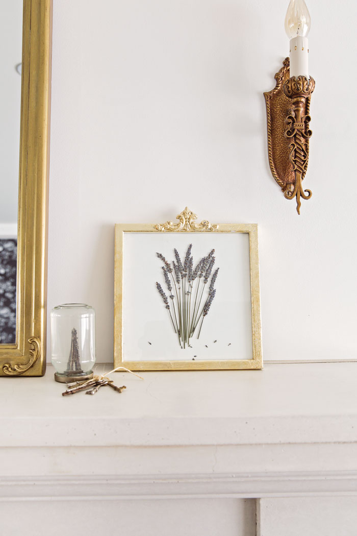 Learn how to create a gilded French vintage inspired DIY frame with pressed lavender -Vintage French Decor by Jaimie Lundstrom