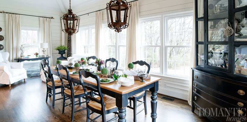 The best vintage decor pieces, Melissa says, have a history, like these antique pendant lanterns hanging above the dining table