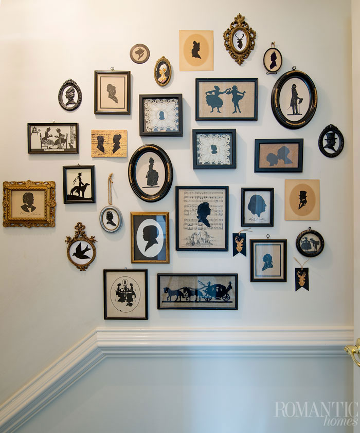 A true statement in vintage decor, this gallery wall of paper cut silhouettes and cameos is an inexpensive and eye-catching way to fill up wall space