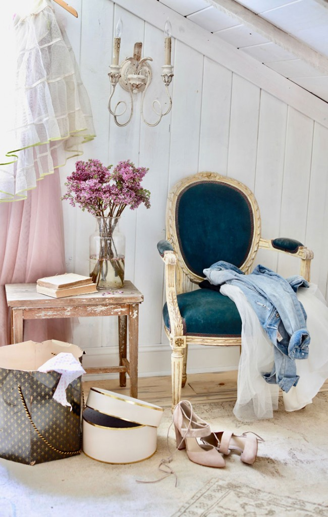 The old teal velvet-covered chair was a thrift-store find years ago. A bit worn and faded, the velvet is not perfect and neither is the chipping gilded paint on the frame, but I love the simplicity of the style and that it is original. - Courtney Allison #romantichomes