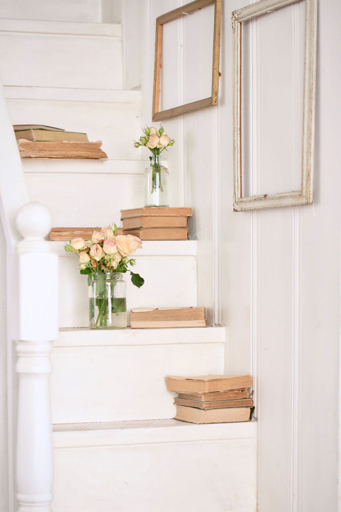 """The narrow stairs are now covered in a simple white enamel paint that doesn't mind a scuff or a bit of wear."" - Courtney Allison #romantichomes"