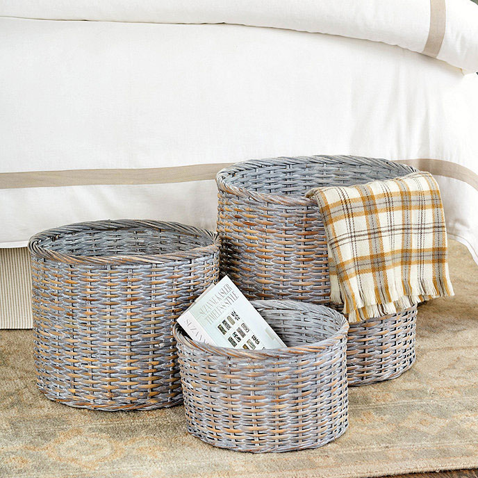 Fill these round baskets decoratively or practically for your harvest farmhouse decor.