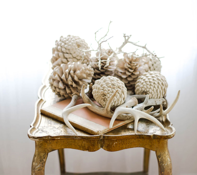 Use both natural and vintage objects like bleached pine cones, shed antlers and vintage books to create unique vignettes for elegant fall decor.