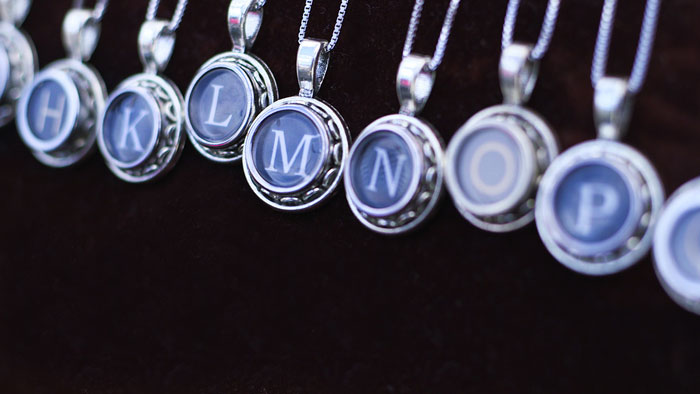 Ruth features typewriter necklaces for every letter in the alphabet. This makes them the perfect personalized gift for any friend or family member