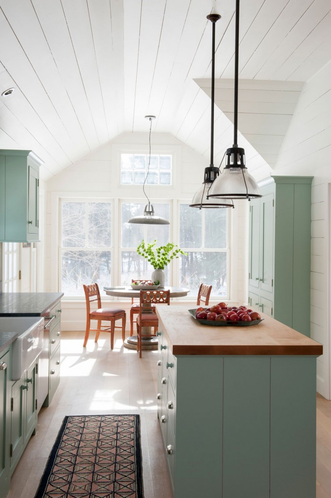 Many farmhouse lovers are embracing butcher block countertops in the kitchen.