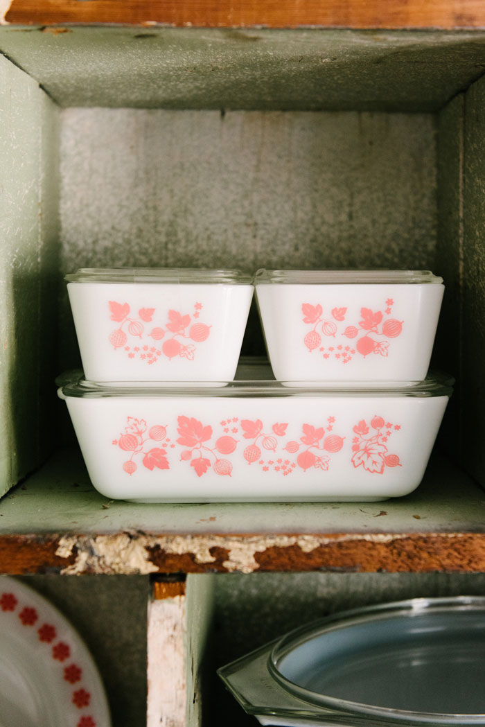 Gooseberry in pink, with mixing bowls, refrigerator storage containers (pictured) and casserole dishes, is currently one of the most popular patterns available. #romantichomes