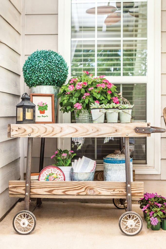 Wood is a staple element in farmhouse style. It's also a great DIY material—try making a coffee table out of an old pallet, or stain a wood sign to become wall art with an inspiring quote.