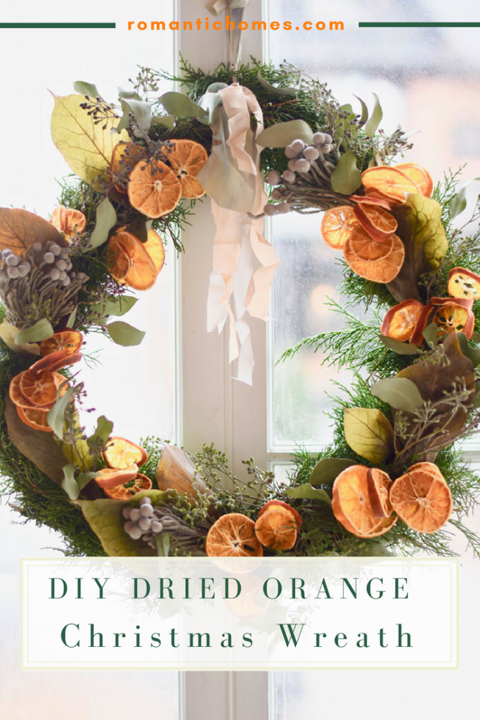 With classic Christmas ingredients featuring dried citrus, you've got the recipe for a charming flower shop-worthy arrangement you can make at home. #christmaswreath #romantichomes