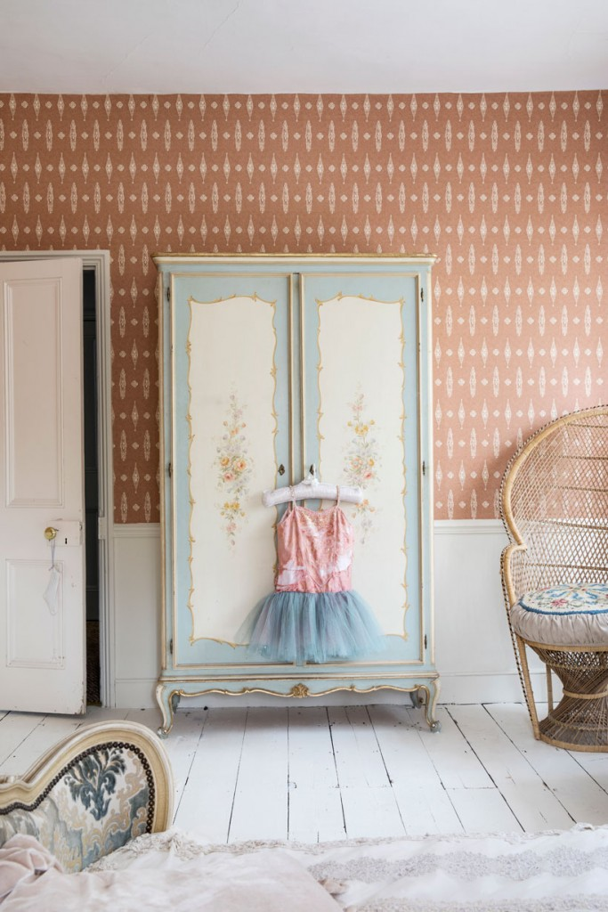 Rachel Ashwell Shabby Chic Bedroom Decor with Peacock Chair and Painted Wardrobe
