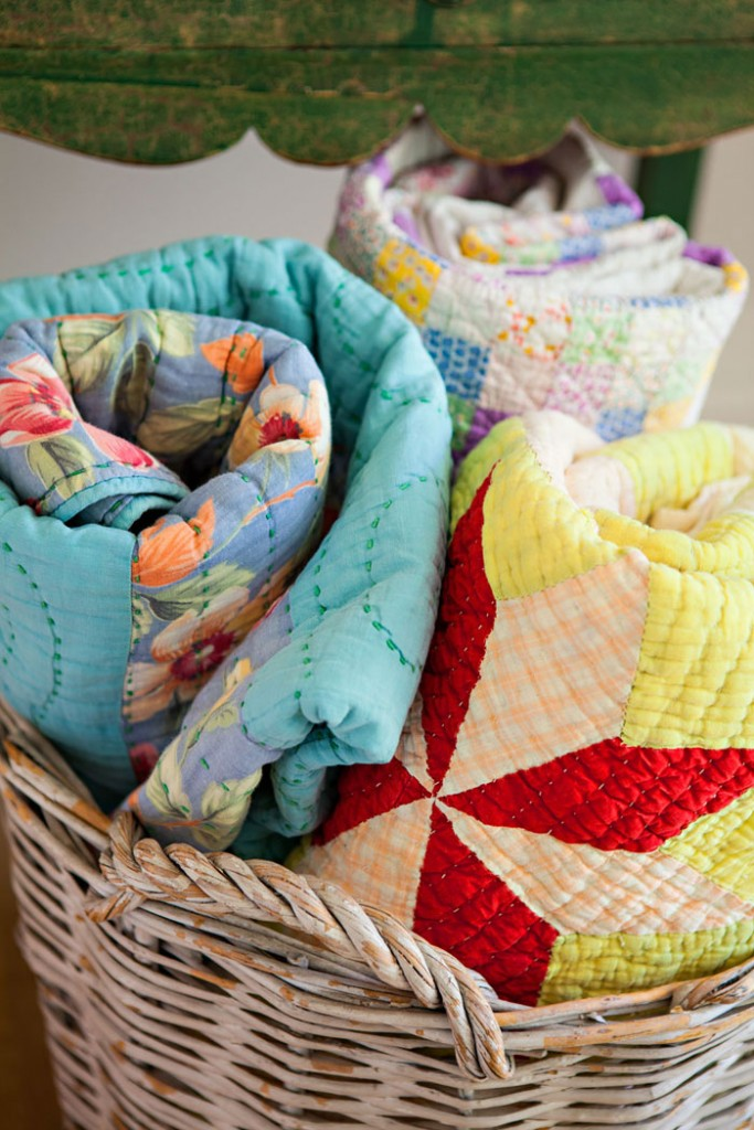 Basket of Vintage Quilts- How to Collect and Care for Quilts
