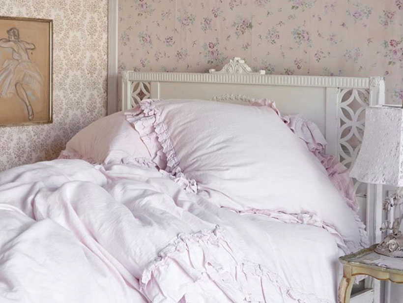 Pink Shabby Chic bedding on a vintage bed