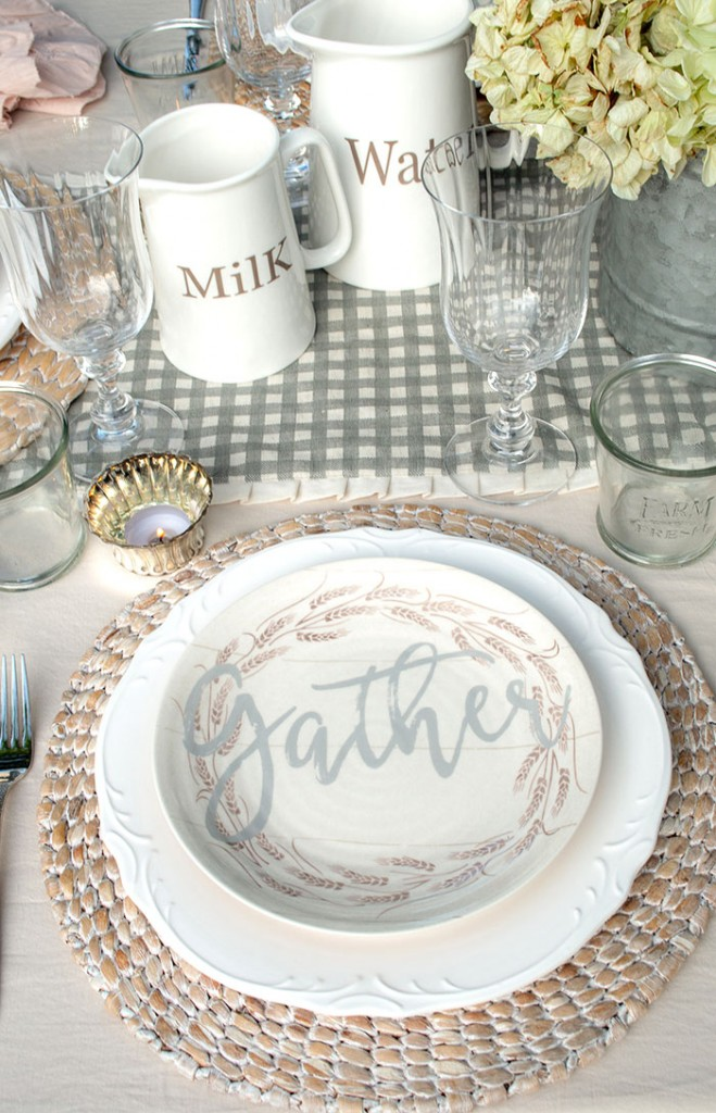 "Fall farmhouse table decor with ""gather"" plate"