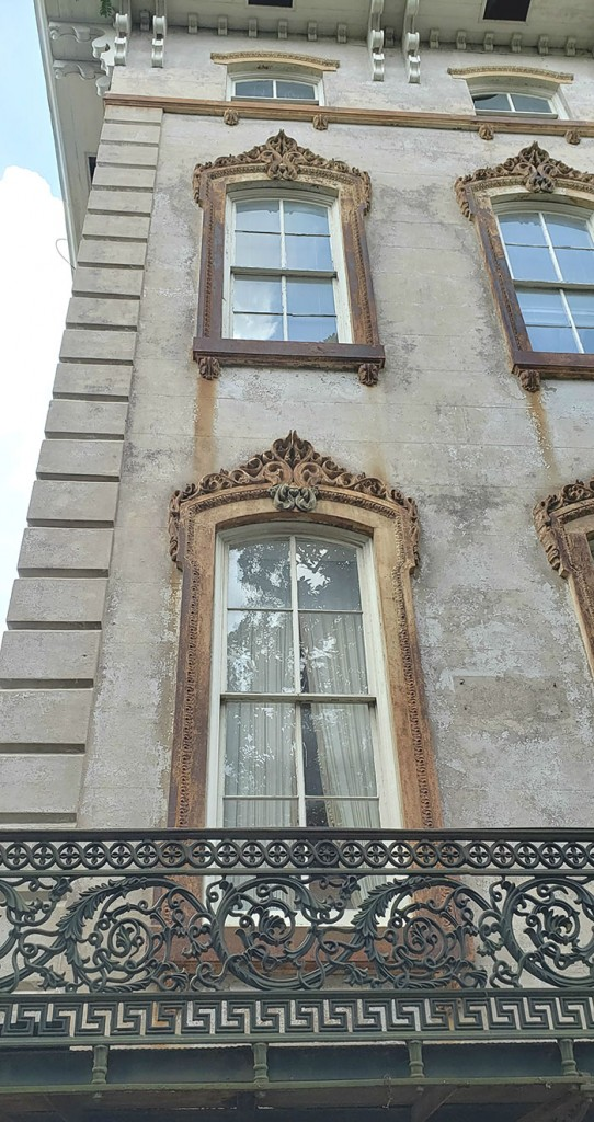 Ornate windows of the Nobel Hardee Mansion, now Alex Raskin Antiques