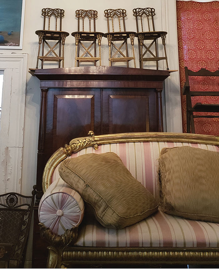 Antique furniture for sale at Alex Raskin Antiques, located at the historic Nobel Hardee Mansion in Savannah, Georgia