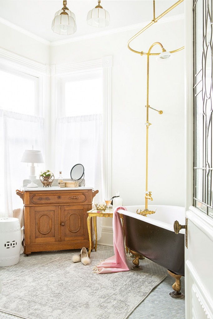 The original bathtub with a few modern updates makes this Victorian farmhouse bathroom a relaxing space.