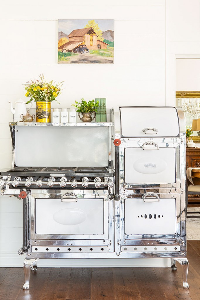 Antique Victorian farmhouse kitchen stove.