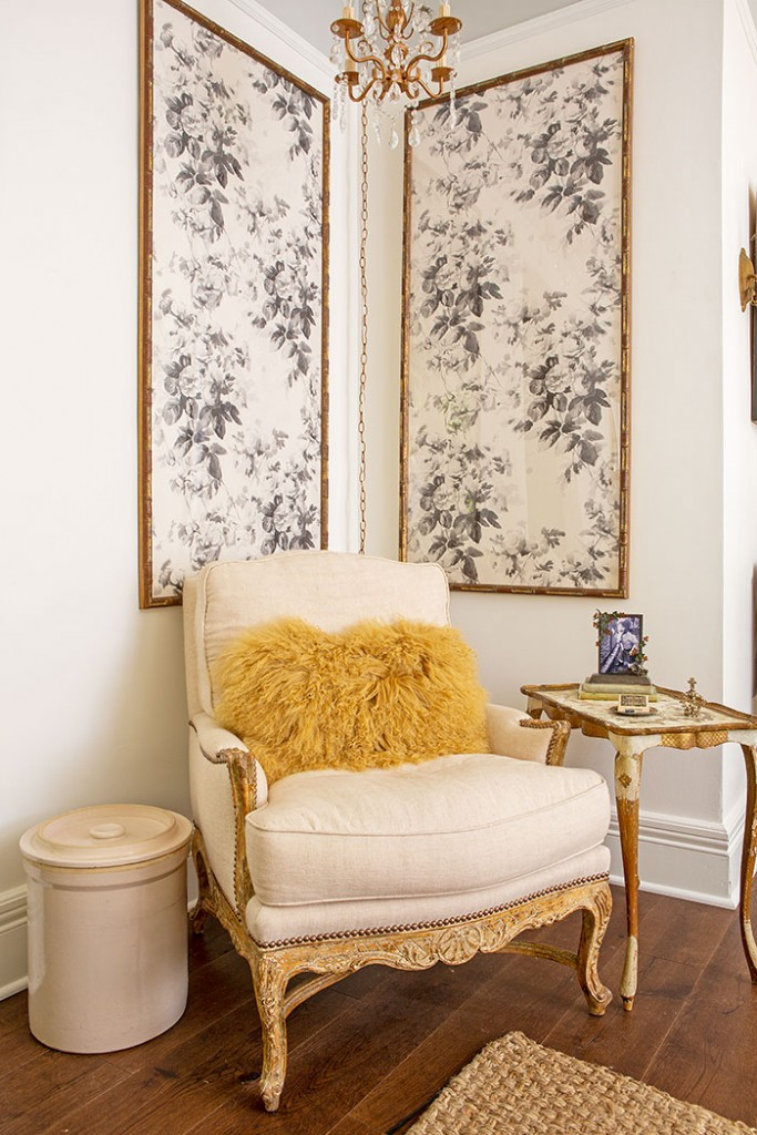 Two large panels of wallpaper add pattern and elegance to Kelly's Victorian farmhouse.