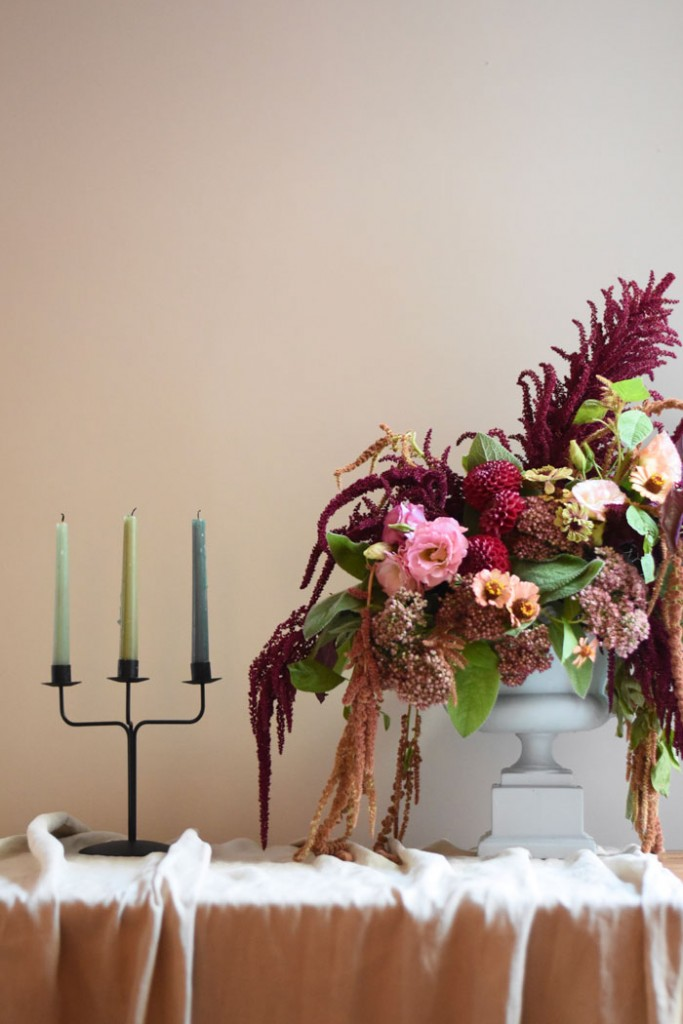Pale green tapers add hight to Cynthia's fall table decor
